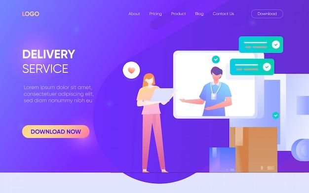 Bezorgservice person character landing page concept illustratie van het website de vectorontwerp Premium Vector