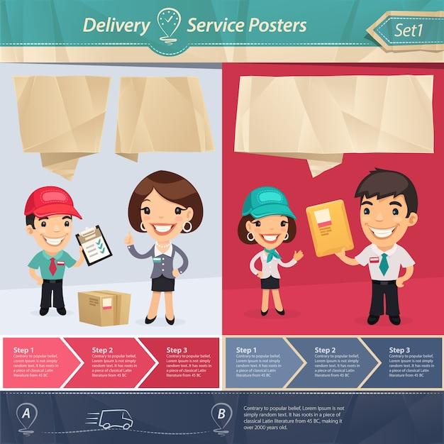 Bezorgservice posters Premium Vector