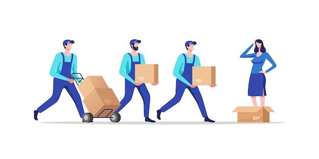 Bezorgservice verhuizers in uniform vervoerende kartonnen dozen Premium Vector