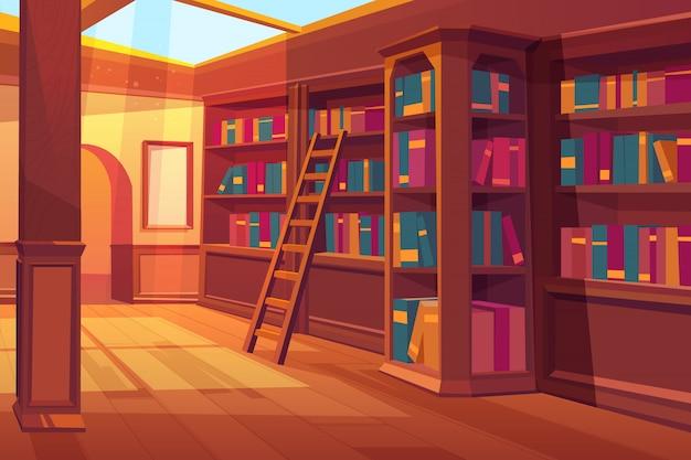 Bibliotheek interieur, lege ruimte voor het lezen met boeken op houten planken Gratis Vector