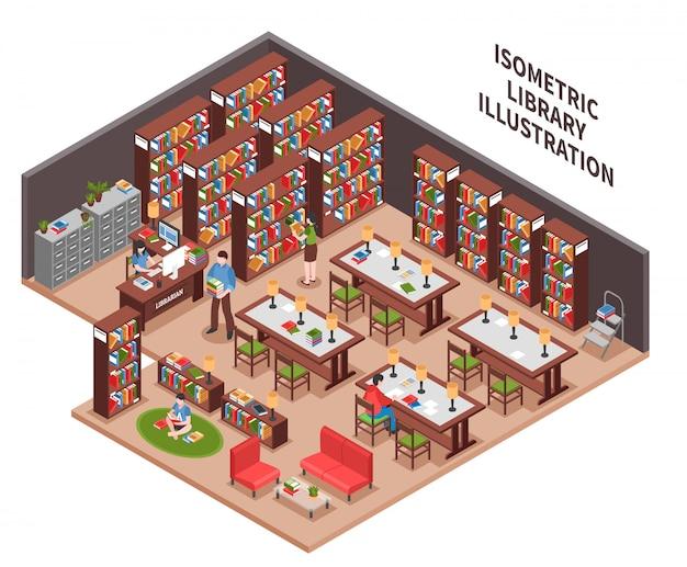 Bibliotheek isometrische illustratie Gratis Vector