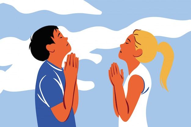 Bidden, god, religie, paar, christendom, verzoek, geloofsconcept Premium Vector