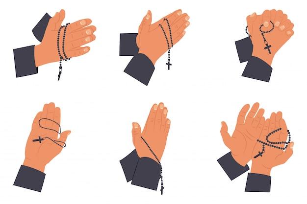 Biddende handen met heilige rozenkrans kralen set. vlakke afbeelding geïsoleerd op een witte. Premium Vector
