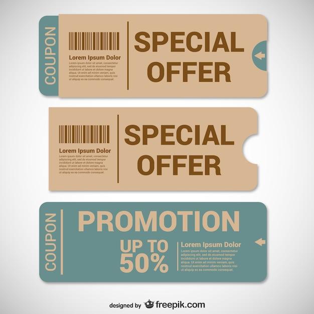 Bieden coupons templates Gratis Vector