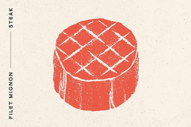 Biefstuk, filet mignon. poster met biefstuksilhouet, tekst filet mignon, steak Premium Vector