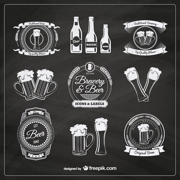 Bier badges in retro stijl Gratis Vector
