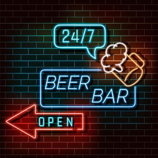 Bier bar neonlicht banner op een bakstenen muur. blauw en oranje bord. decoratief realistisch retro element voor de vectorillustratie van het webontwerp. Premium Vector