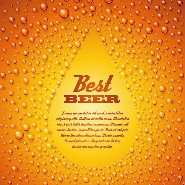 Bier bier tekstsjabloon op gecondenseerde waterbellen Gratis Vector