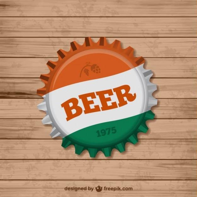 Bier dop van de fles Gratis Vector