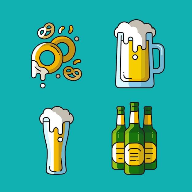Bier en snacks s. lineaire kleurrijke pictogrammen voor pubs. Premium Vector