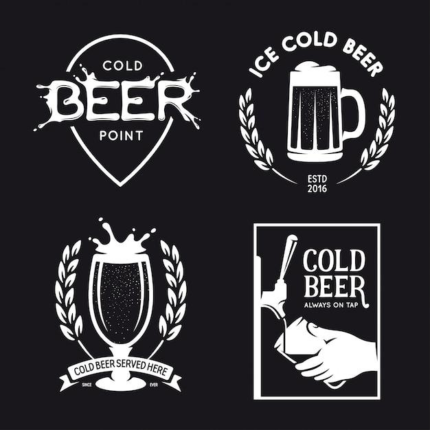 Bier gerelateerde typografie set. vector vintage belettering illustratie. Premium Vector
