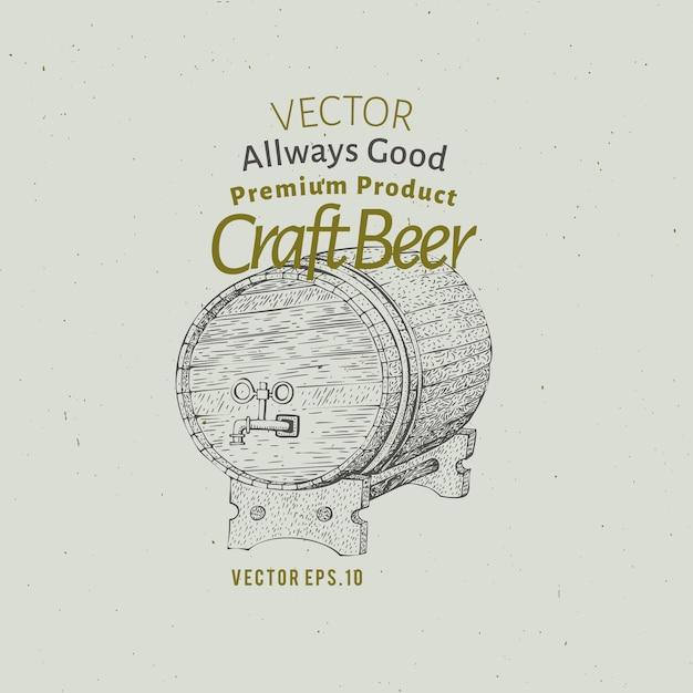 Bier logo sjabloon. vector hand getekend bier vat illustratie. Premium Vector