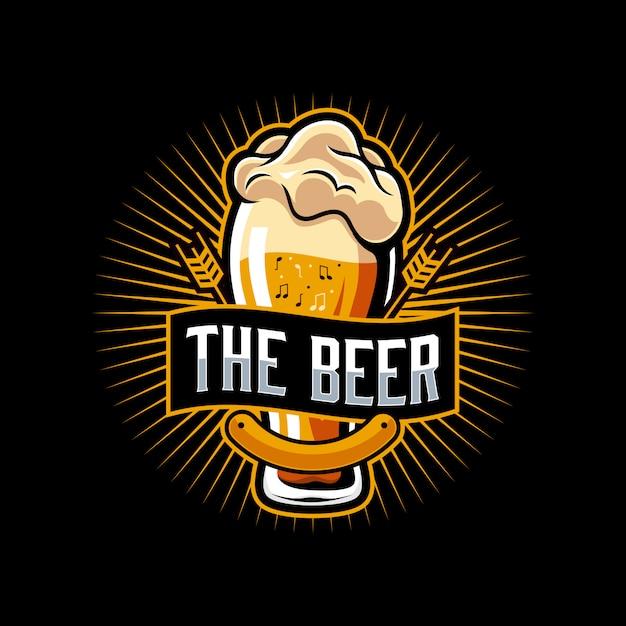Bier muziek logo sjabloon Premium Vector