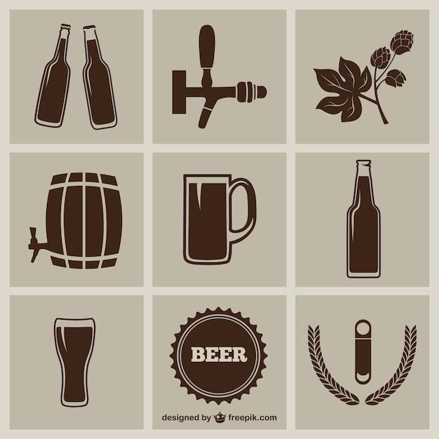 Bier pictogrammen pack Gratis Vector