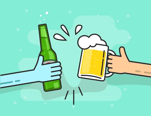 Bier roosteren of handen met glazen vector lijn overzicht kunst Premium Vector