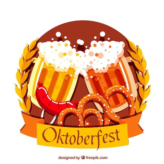 Bier toast, worst en pretzels met platte vormgeving Gratis Vector