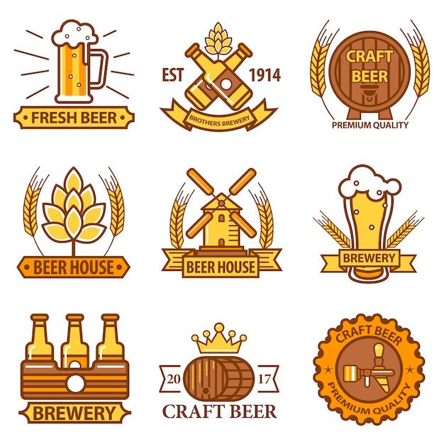 Bier vector iconen voor brouwerij bar pub of productlabels Premium Vector