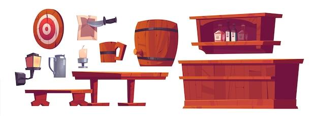Biercafé, salon, retro bar interieur spullen en meubels houten bank en bureau Gratis Vector