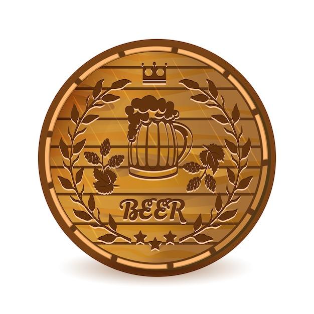 Bieretiket op houten vat vectorillustratie Gratis Vector