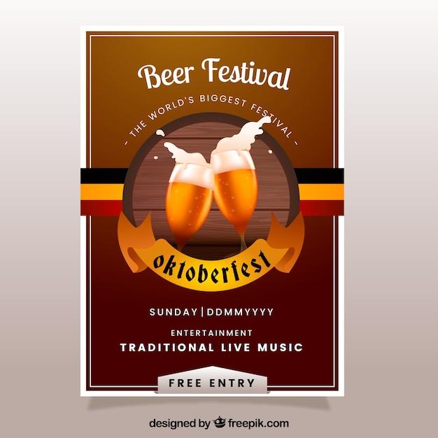 Bierfestival brochure in vintage ontwerp Gratis Vector