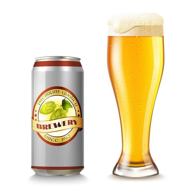 Bierglas en blik Gratis Vector