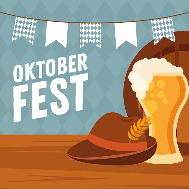 Bierglas met hoed en banner wimpel ontwerp, oktoberfest duits festival en feestthema Premium Vector