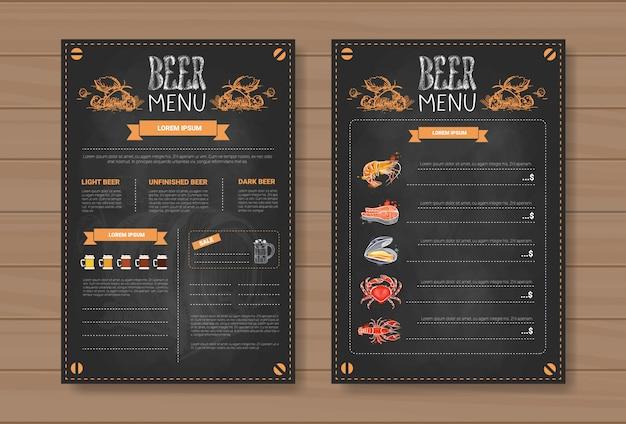 Biermenu decorontwerp voor restaurant cafe pub chalked Premium Vector
