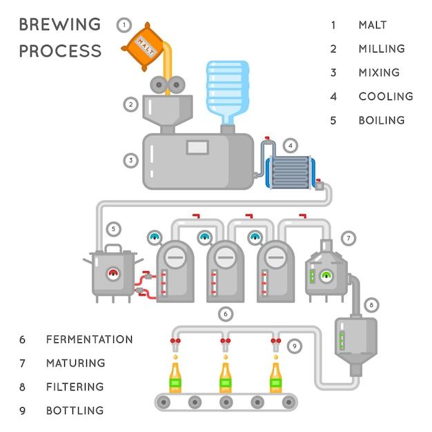 Bierproces. brouwen infographic of brouwerijproces. alcoholbrouwerijproductie, transportband produceert bier. illustratie Gratis Vector