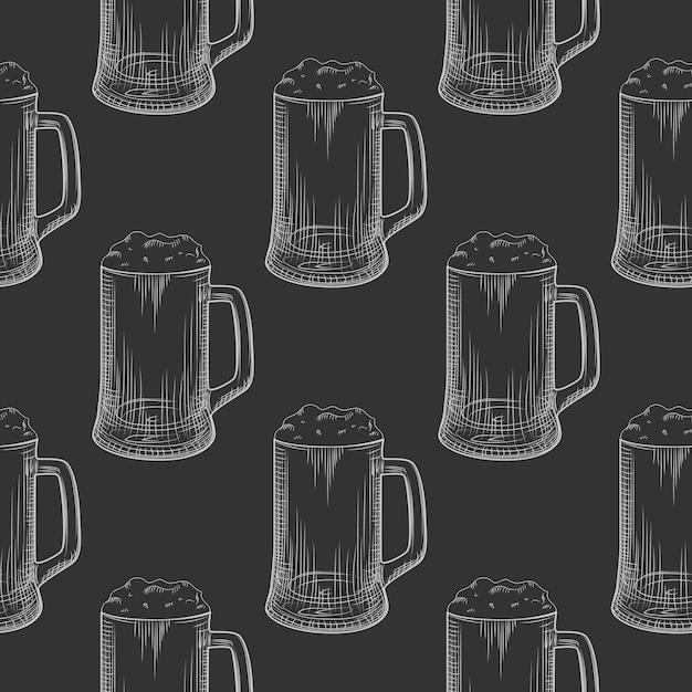 Bierpul naadloze patroon. volle bierglazen met schuim. Premium Vector