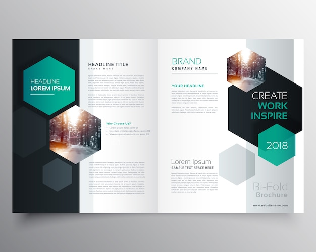 Bifold business brochure of magazine cover pagina ontwerp met hexagonale vorm vector sjabloon Gratis Vector