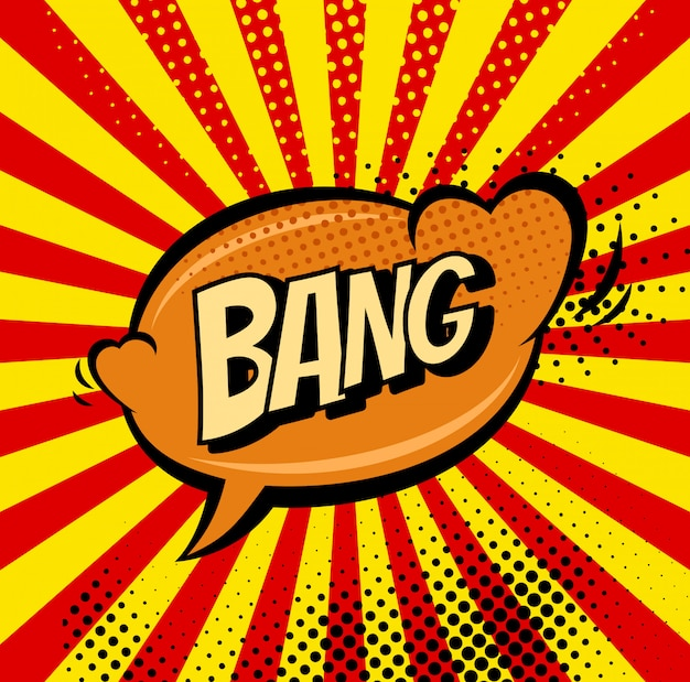 Big bang retro teken tekstballon Premium Vector