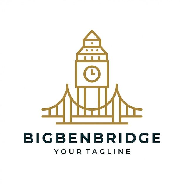 Big ben torenbrug logo en pictogram. Premium Vector