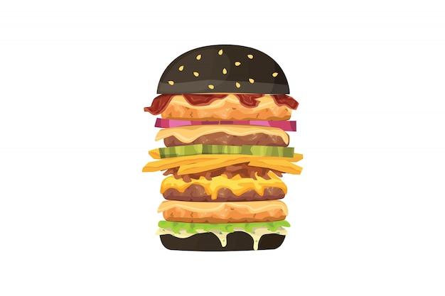 Big burger cartoon fastfood illustratie. zwarte hamburger. Premium Vector