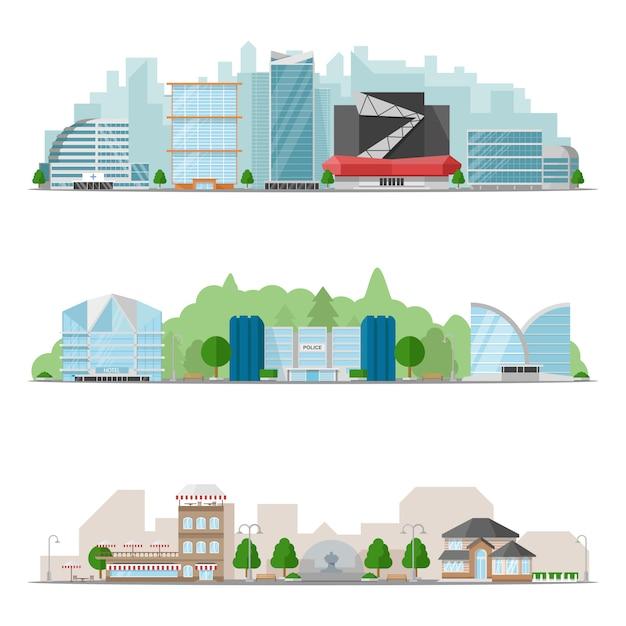 Big city skylines illustratie set Gratis Vector