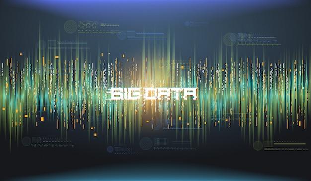 Big data abstracte visualisatie. futuristisch esthetisch ontwerp. big data-achtergrond met hud-elementen. Premium Vector