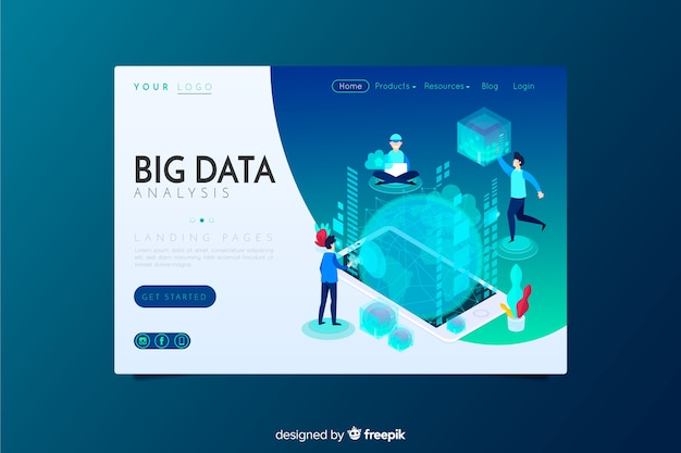 Big data-analyse bestemmingspagina Gratis Vector