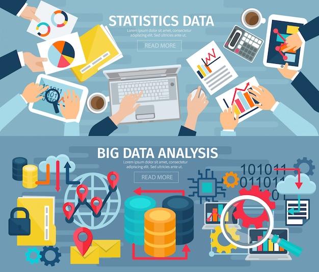 Big data-analyse en database statistische systemen 2 platte banners Gratis Vector