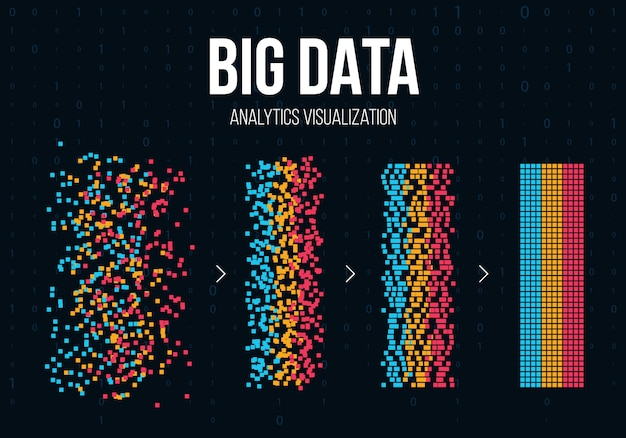 Big data-analyse van informatie-achtergrond. Premium Vector