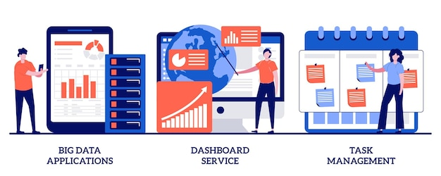Big data-applicaties, dashboardservice, taakbeheerconcept met kleine mensen. optimalisatieset voor het beheer van bedrijfsprojecten. automatisering van bedrijfsactiviteiten. Premium Vector