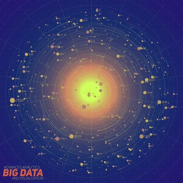 Big data blauwe visualisatie. futuristische infographic. informatie esthetisch ontwerp. visuele gegevenscomplexiteit. complexe gegevensdraden grafisch. vertegenwoordiging van sociale netwerken. abstracte gegevensgrafiek. Gratis Vector
