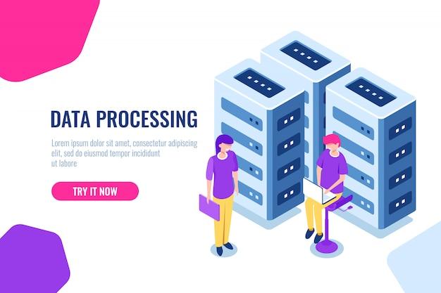 Big data center concept, cloud database beveiliging, girl engineer, onderhoud hardware Gratis Vector