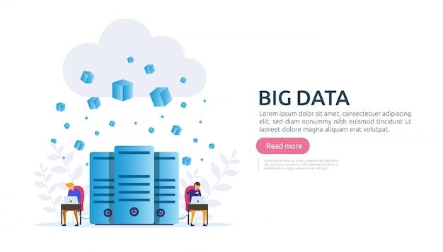 Big data cloud database analyse verwerkingsserviceconcept Premium Vector