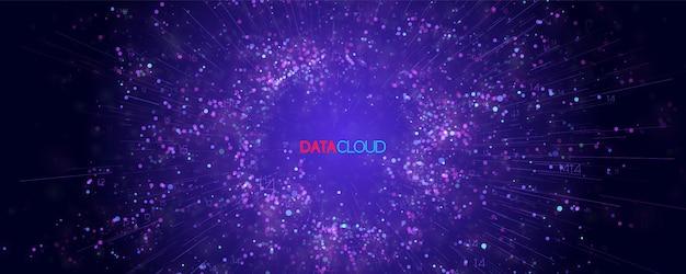Big data cloud visualisatie. futuristische infographic. informatie cloud computing. visuele gegevenscomplexiteit. complexe bedrijfsgrafiekanalyses. vertegenwoordiging van sociale netwerken. abstracte gegevensgrafiek. Gratis Vector