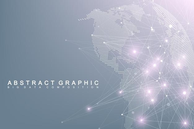 Big data complexe wereldbol. grafische abstracte communicatie. virtuele minimale array met verbindingen. digitale datavisualisatie. Premium Vector
