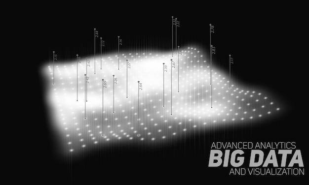 Big data grijswaarden gebogen net Gratis Vector