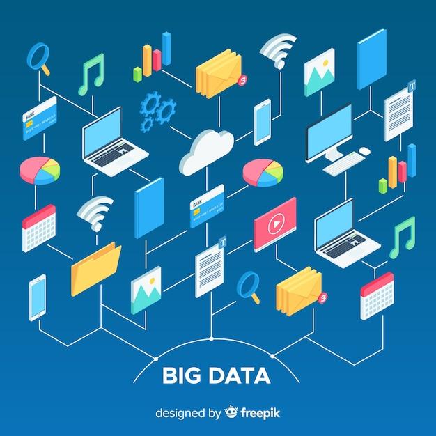 Big data-samenstelling met isometrische weergave Gratis Vector