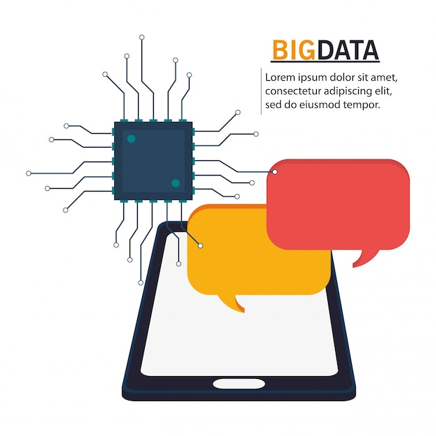Big data smartphone-circuit zeepbel spraak Premium Vector