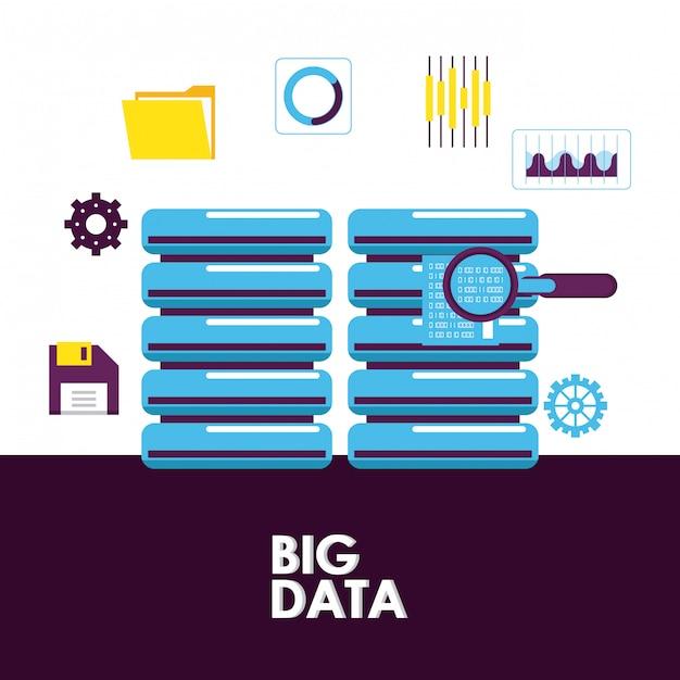 Big data-technologie Premium Vector