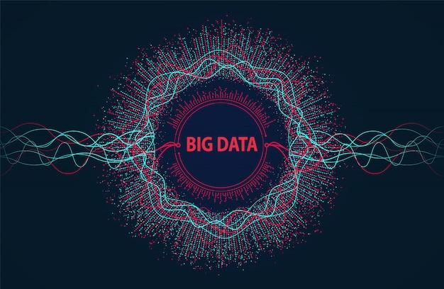 Big data. visuele informatiestroom van punten en lijnen. Premium Vector