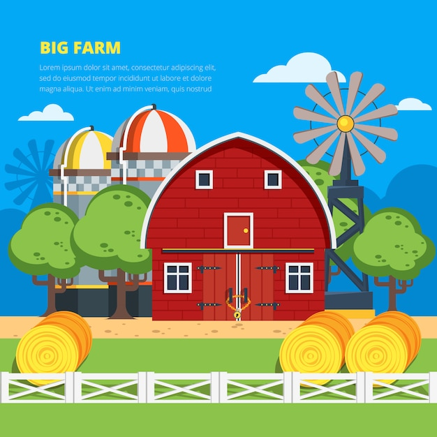 Big farm platte compositie Gratis Vector
